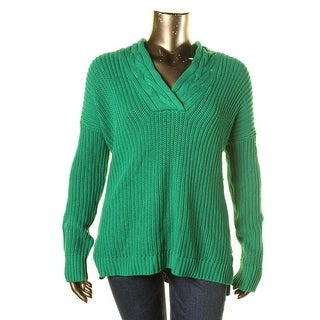 Lauren Ralph Lauren Womens Ribbed Knit Shawl Pullover Sweater