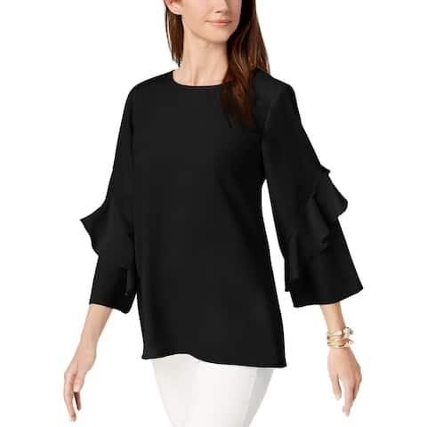 Alfani Women's Ruffled-Sleeve Zip-Back Top (S)