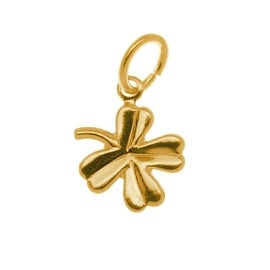 22K Gold Plated Small Four-Leaf Clover Charm With Ring - 10.5mm (6)