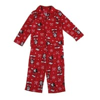 Disney Boys Red Mickey Mouse Print Button Down 2 Pc Pajama Set