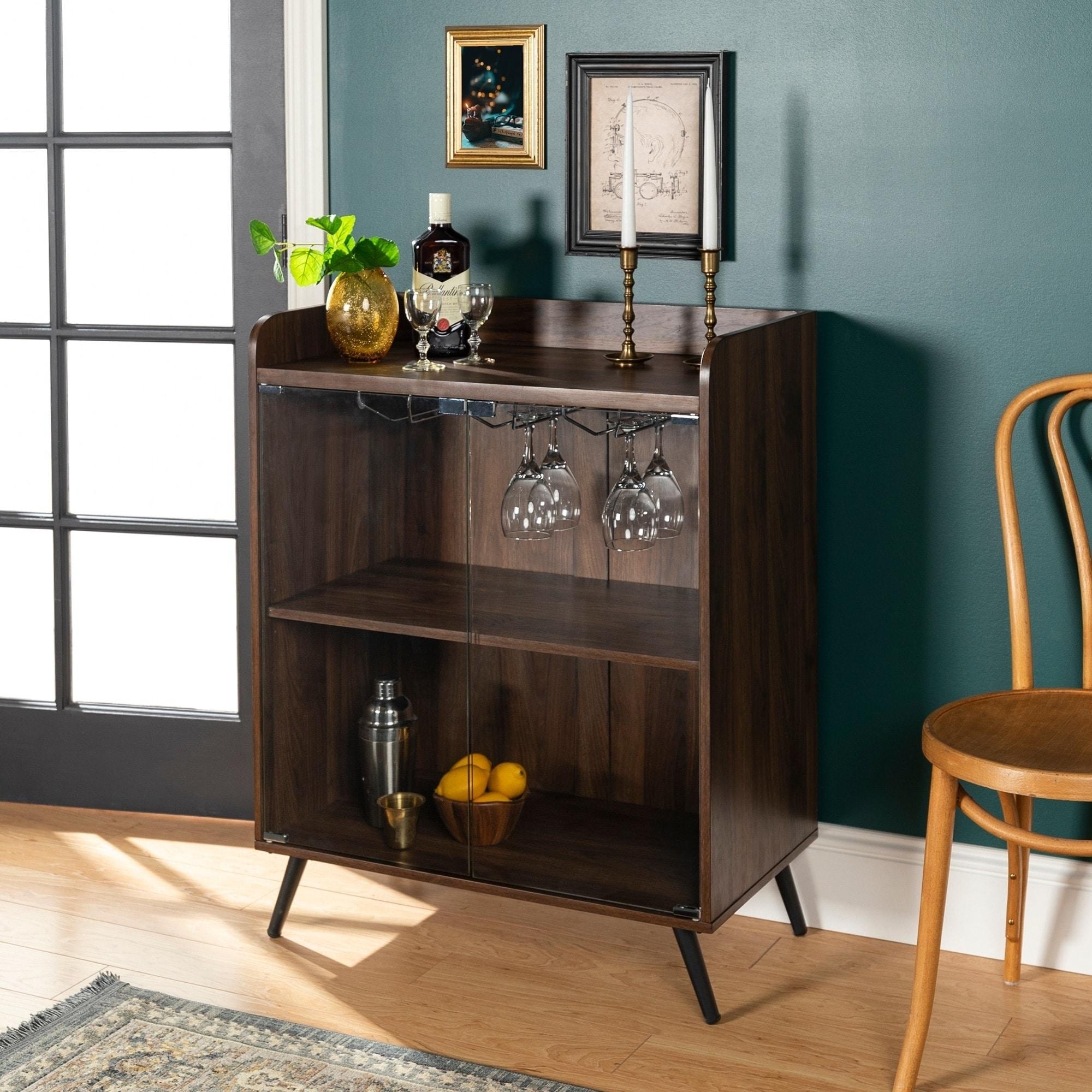 Carson Carrington Nyby 36 Inch Glass Door Bar Cabinet On Sale Overstock 21666111 Dark Walnut