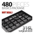 480 Pieces of Surgical Steel Basics Starter Package with Free Display Tray - Thumbnail 0