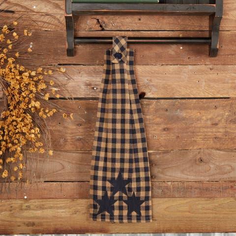Navy Star Button Loop Kitchen Towel - Kitchen Towel 6.5x18