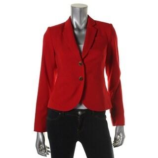 Calvin Klein Womens Petites Two-Button Blazer Woven Notch Collar