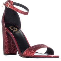 G Guess Shantel3 Ankle Strap Block Heel Sandals, Dark Red - 7.5 us