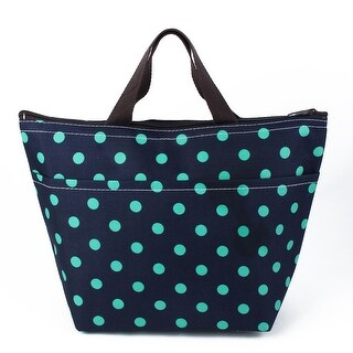 Travel Zipper Dot Pattern Insulated Cooler Lunch Carry Tote Bag Picnic Box