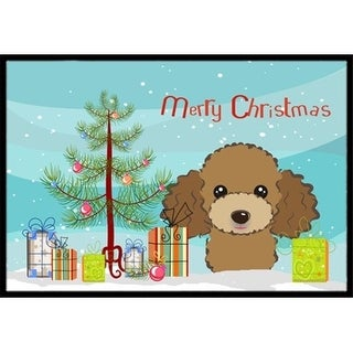 Carolines Treasures BB1628JMAT Christmas Tree & Chocolate Brown Poodle Indoor or Outdoor Mat 24 x 36