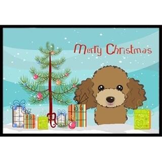 Carolines Treasures BB1628MAT Christmas Tree & Chocolate Brown Poodle Indoor or Outdoor Mat 18 x 27