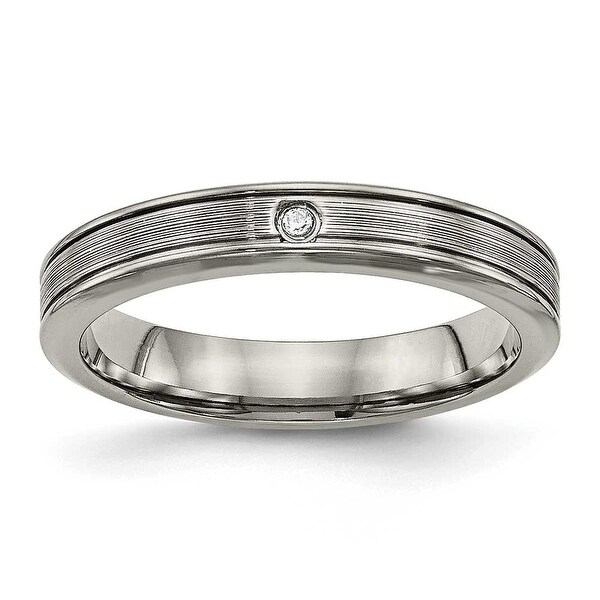Titanium Polished Grooved Comfort Back CZ Ring (3.8 mm)