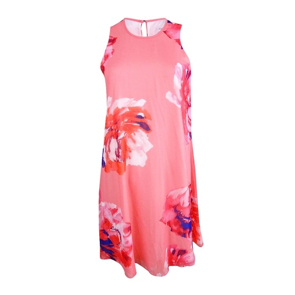 df89ed26cddf Shop Calvin Klein Women's Chiffon Plus Floral-Print Trapeze Dress - Coral  Multi - Free Shipping Today - Overstock - 22122839