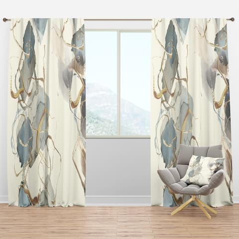 Designart 'Gold Glam Squares VI' Glam Blackout Curtain Panel