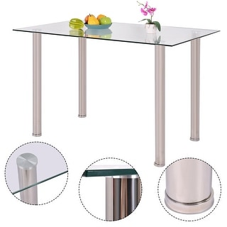 Costway Glass Top Rectangle Dining Table Stainlesss Steel Legs