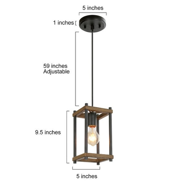 Antique Black Metal and Faux Wood Finish Pendant Foyer Lighting