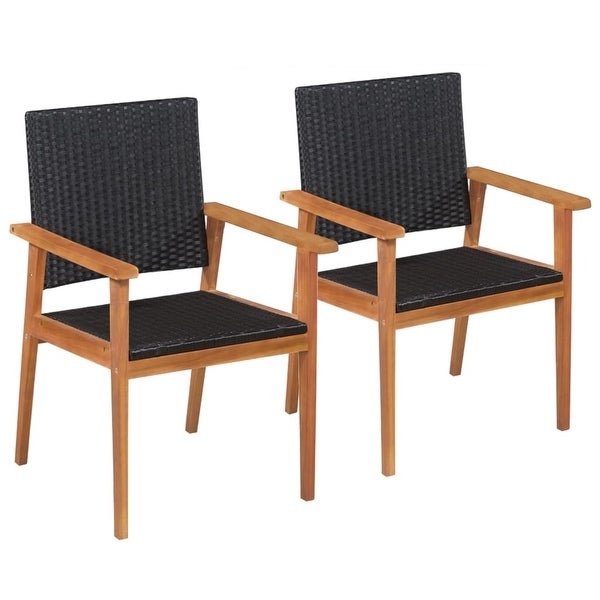 vidaXL Outdoor Chairs 2 pcs Poly Rattan Black and Brown