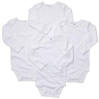 Carter's Baby Unisex 4 Pk Ls White Bodysuits -3 Months