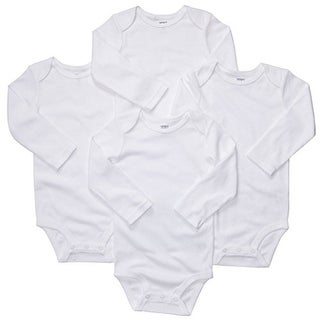 Carter's Baby Unisex 4 Pk Long Sleeve White Bodysuits -9 Months