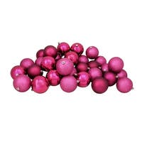 "32ct Red Raspberry Shatterproof 4-Finish Christmas Ball Ornaments 3.25"" (80mm)"