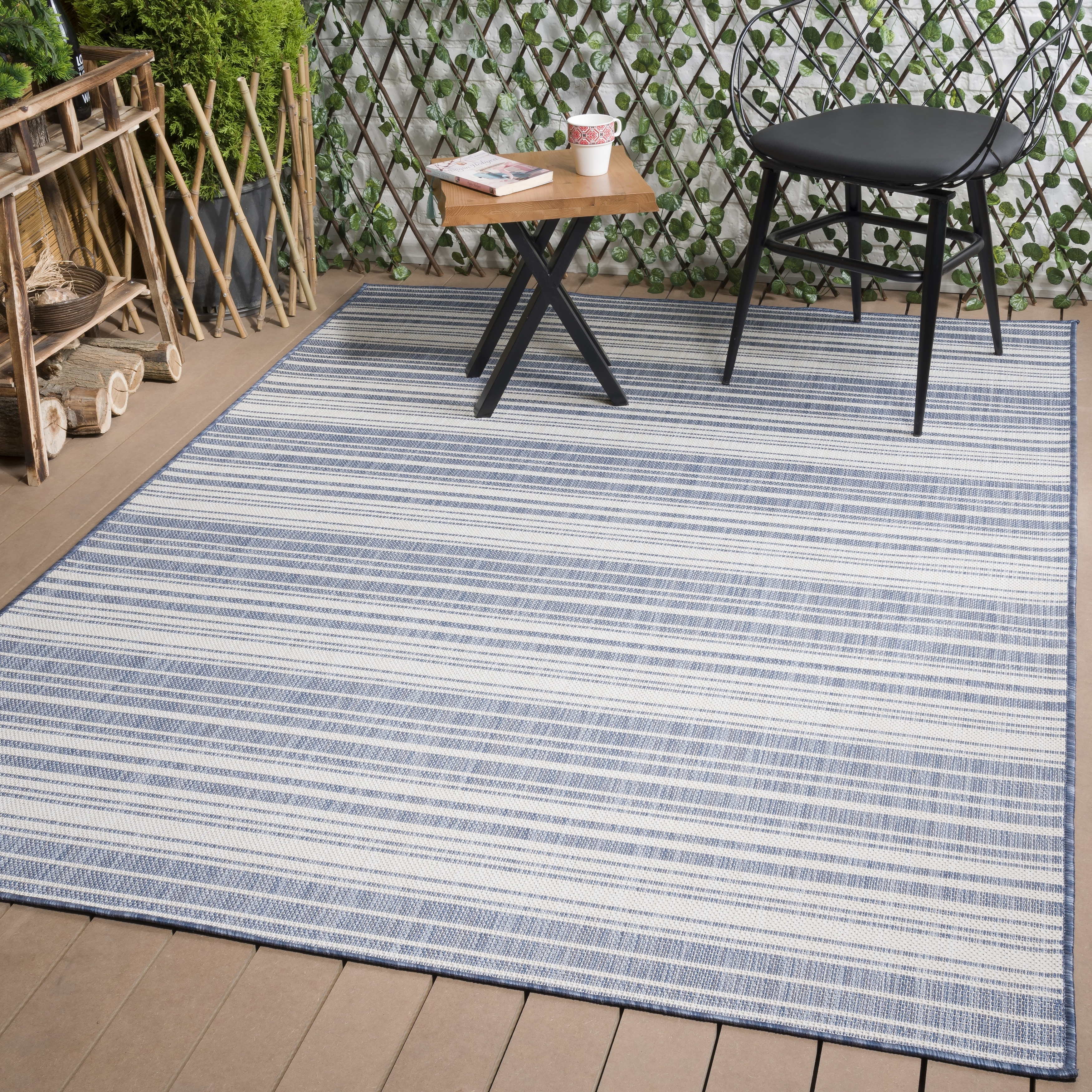 Shop Beverly Rug Waikiki Collection Indoor Outdoor Stripes Area Rug Blue White Wkk20503 Overstock 31772170