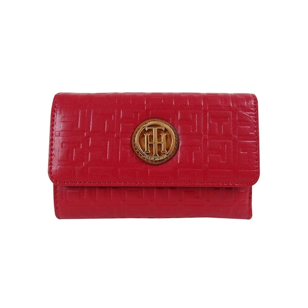 Tommy Hilfiger Lucky Charm TH Debossed Flat Wallet, Tommy Red - tommy red - One size