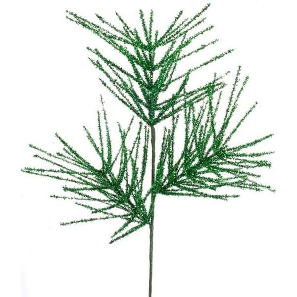 "Pack of 12 Emerald Green Glitter Christmas Needle Sprays 25"""