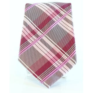 Geoffrey Beene NEW Pink Men's One-Size Plaid Print Silk-Blends Neck
