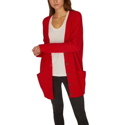 Sanctuary Women Sweater Red Medium M Button Drop-Shoulder Knit Cardigan