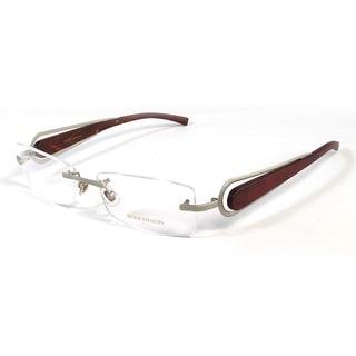 Boucheron Unisex Rectangular Rounded Rimless Eyeglasses Silver/Wood - S