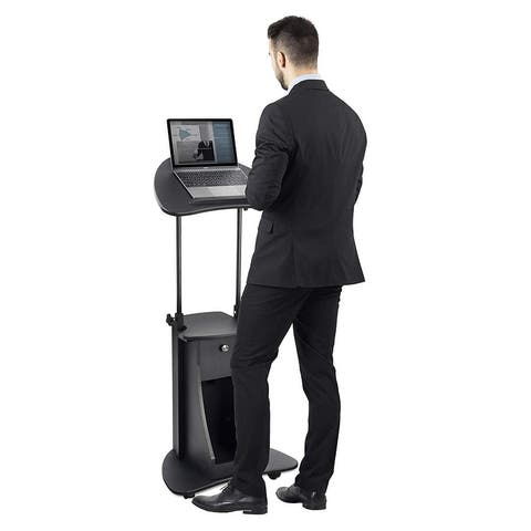 Mount-It! Standing Height Laptop Cart with Storage, Height Adjustable Rolling Laptop Stand (MI-7947)