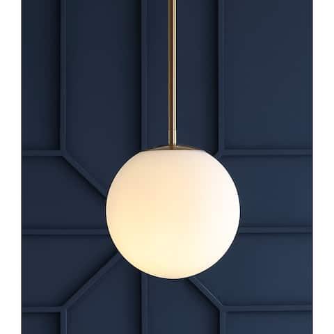 """Bleecker 7.75"""" Metal/Glass Globe LED Pendant, White/Brass by JONATHAN Y"""