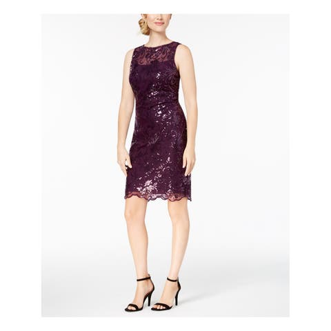 CALVIN KLEIN Womens Purple Sequined Scalloped Hem Sleeveless Sheath Prom Dress Size: 12