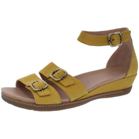 Dansko Womens Astrid Wedge Sandals Leather Ankle Strap - Yellow Nubuck