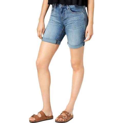 Earl Jean Womens Denim Shorts Denim Embellished