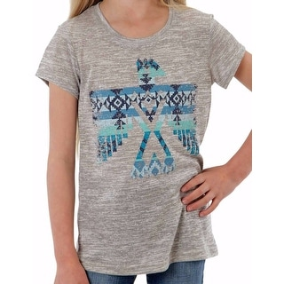 Roper Western Shirts Girls Tee S/S Gray Turquoise 03-009-0514-2009 GY