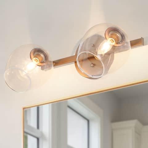 "Modern Gold 2-light Vanity Lights Wine-shaped Glass Wall Sconces - L17.5""xW8""xH10"""