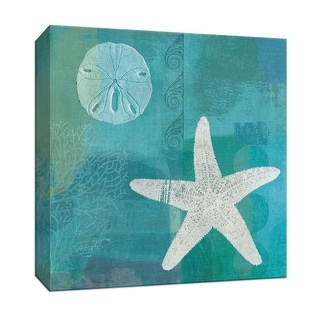 "PTM Images 9-152732  PTM Canvas Collection 12"" x 12"" - ""Blue Ocean I"" Giclee Starfishes Art Print on Canvas"