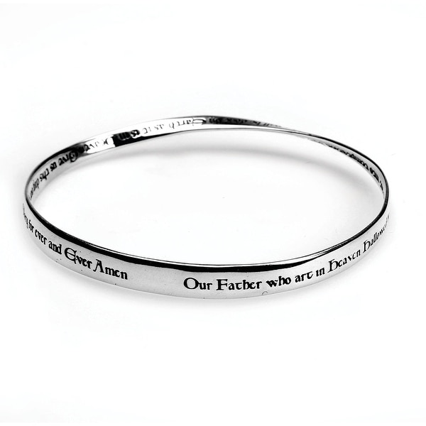 Women's Lord's Prayer Mobius Bangle Bracelet - New International - Silver