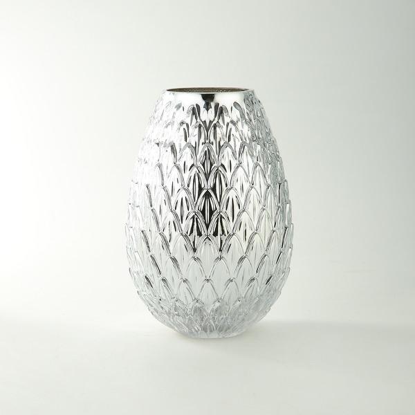 "10"" Metallic Silver Bumpy Round Glass Vase - N/A"