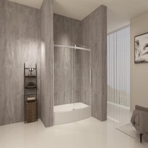 "Frameless Curved Bathtub Shower Doors 60"" Width x 58"" Height"