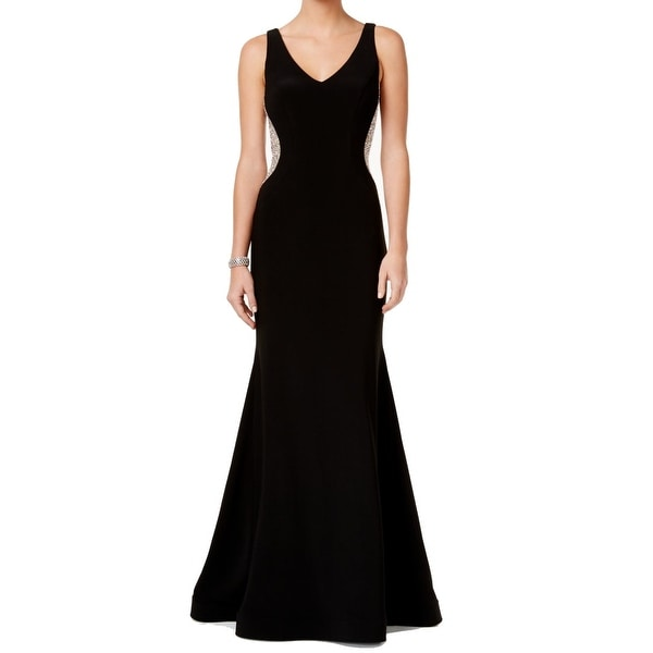 Xscape NEW Black Nude Womens Size 8 Embellished V-Neck Mermaid Gown ...
