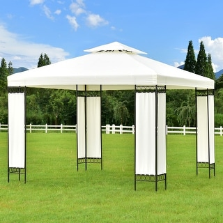 Costway 10u0027x10u0027 2-Tier Gazebo Canopy Shelter Wedding Party Tent & Tents u0026 Outdoor Canopies For Less   Overstock.com