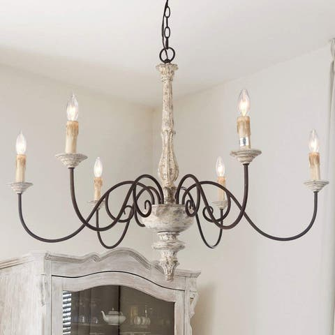"""The Gray Barn Farmhouse 37"""" Large 6-light Wood French Country Chandelier"""