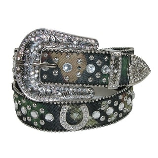 CTM® Women's Rhinestone Horseshoes on Mossy Oak Camo Belt - Mossy Oak Camo