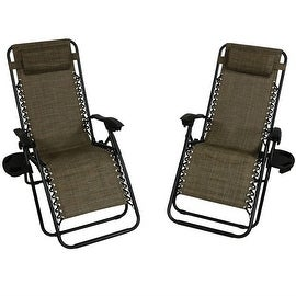 sunnydaze dark brown oversized zero gravity lounge chair set of 2 - Zero Gravity Lounge Chair
