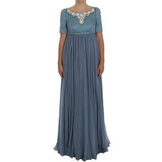 Dolce & Gabbana Blue Silk Crystal Sheath Gown Ball Dress - it40-s