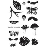 """Flora & Fauna Clear Stamps 4""""X6""""-Thanks A Munch"""