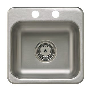 "Sterling B155B-2 15"" Single Basin Drop In Stainless Steel Bar Sink with SilentShield"