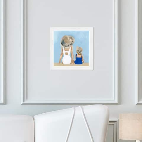 Wynwood Studio 'Love You More Round' Fashion and Glam Wall Art Framed Print Swimsuit - Blue, White
