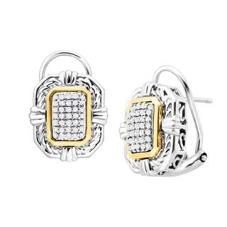 1/5 ct Diamond Braided Frame Earrings in Sterling Silver & 14K Gold