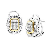 1/5 ct Diamond Braided Frame Earrings in Sterling Silver & 14K Gold
