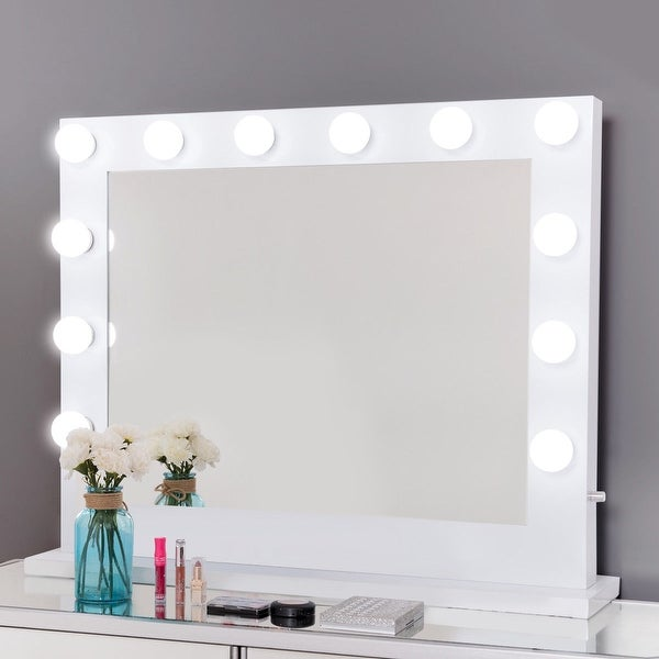 Gymax Hollywood Lighted Makeup Vanity Dressing Mirror Tabletop Dimmer Led White